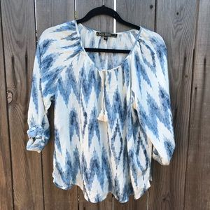 Long sleeve blue and white tribal top